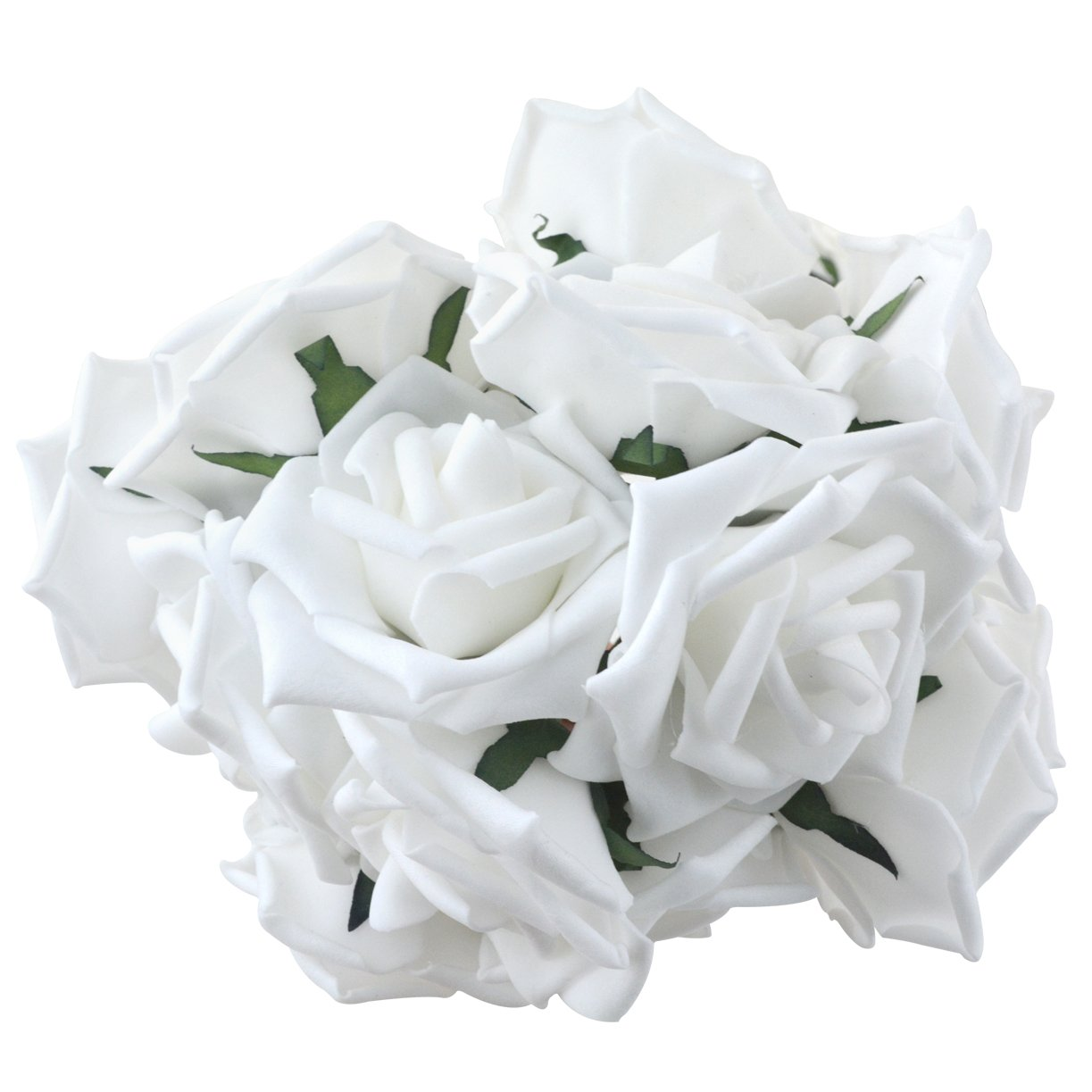 Foam Roses Flowers White Artificial Rose Flowers 50pcs Real Touch
