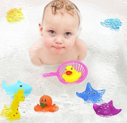 10 piezas de juguete de baño flotante, juguetes de baño para bebés, pequeños animales