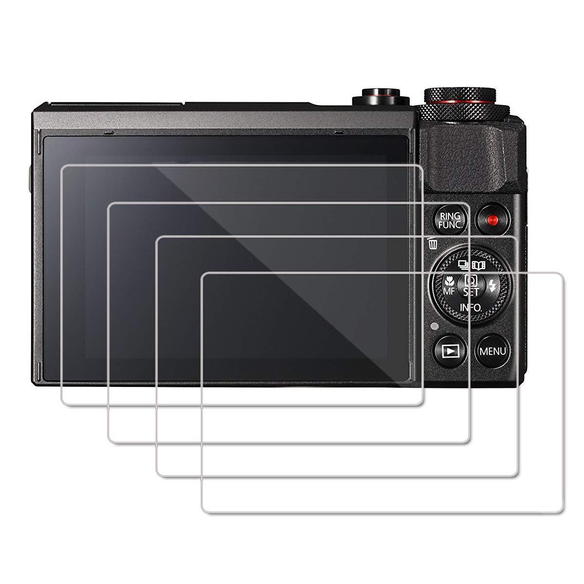Protecteur de Verre Tremp/é /à Couverture Totale Lot de 4 Installation Facile sans Bulles R/ésistant Aux Rayures Cristal Clair OOTSR Protecteur D/écran pour Canon G7X Mark II G9X G9XII G7X G5X