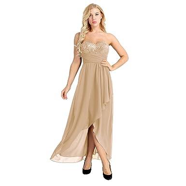 fef4a7e4964 IEFIEL Femme Robe Demoiselle d honneur en Mousseline de Soie Élégante Dame  Robe de Soirée