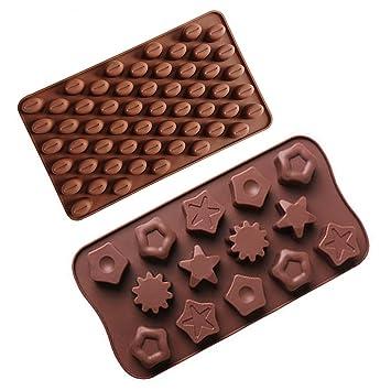 55 molde de silicona Mini granos de café, 14 Star silicona moldes para galletas Chocolate