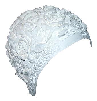 Bianco Fiore di Rosa Cuffia da Piscina 11a11fb63633
