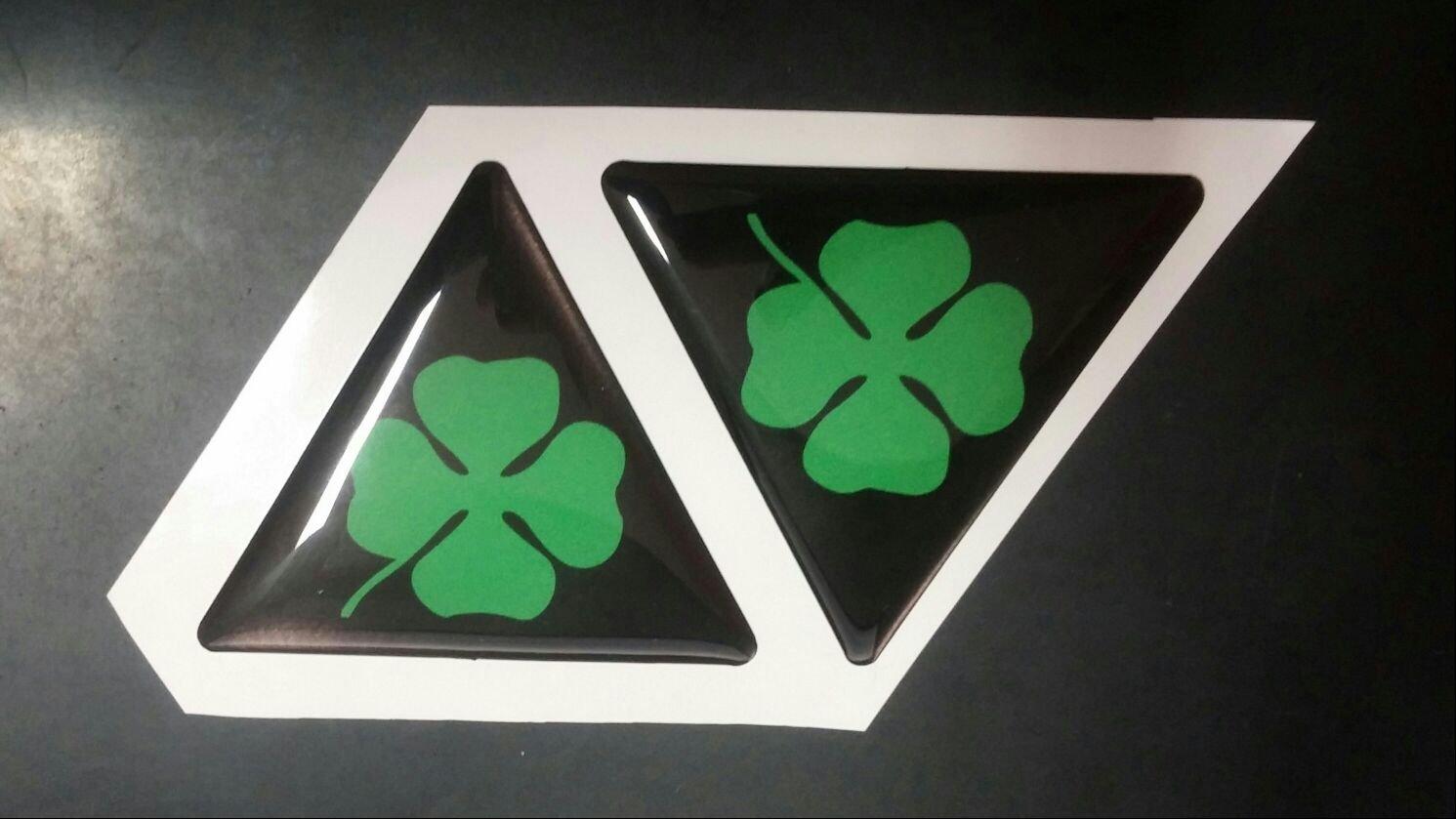 Kit 2 stickers autocollants 3d alfa romeo trè fle vert Size 6 cm Ré sine a-026b Azgraphishop