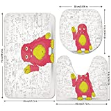 3 Piece Bathroom Mat Set,Kids Decor,Funny Smart Monster Doing Math on Wall Science Nerds Comic Illustration Decorative,Pink Yellow White,Bath Mat,Bathroom Carpet Rug,Non-Slip