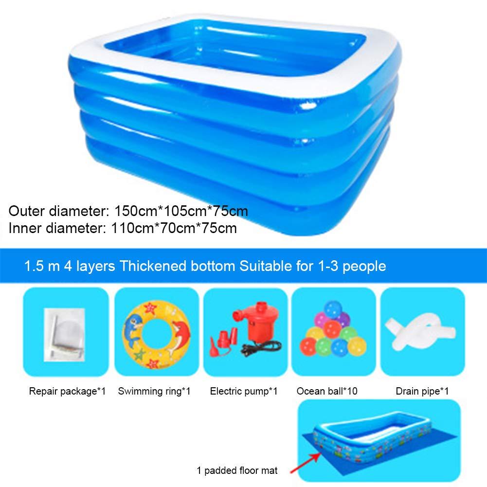WQING Rechteckiges Familien-Schwimmen-Spielzeug-aufblasbares Swimmingpool-erwachsenes aufblasbares Pool für Sommerfest  A6