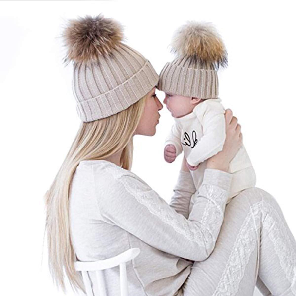oenbopo 2PCS Parent-Child Hat Warmer Mother & Baby Daughter/Son Winter Warm Knit Hat Family Crochet Beanie Ski Cap
