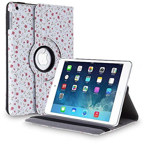 TNP Apple iPad Air Case (iPad 5th Gen, 2013 Model) Tablet - 360 Degree Rotating Stand Folio PU Leather Smart Cover Case with Built-in Magnet for Auto Sleep & Wake Feature & Stylus Holder, Flower Rose (Ipad Air Case I Home compare prices)