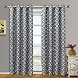 Modern & Elegant Meridian Blackout Top Grommet Thermal Insulated Window Curtain Set of Two Panels, Grey, Set of Two 52″ by 96″ Panels (104″ x 96″)