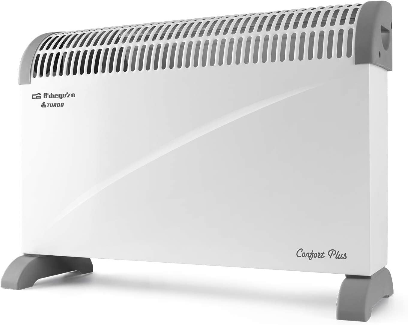 Orbegozo CVT 3400 Convector, Termostato Regulable, Función Turbo, Protección Contra Sobrecalentamiento, Asas de Transporte, 2000 W, Blanco