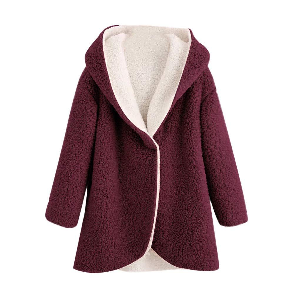 GREFER Women's Winter Jacket Curved Hem V Neck Faux Fur Sherpa Fleece Hoodie Coat GREFER-1004