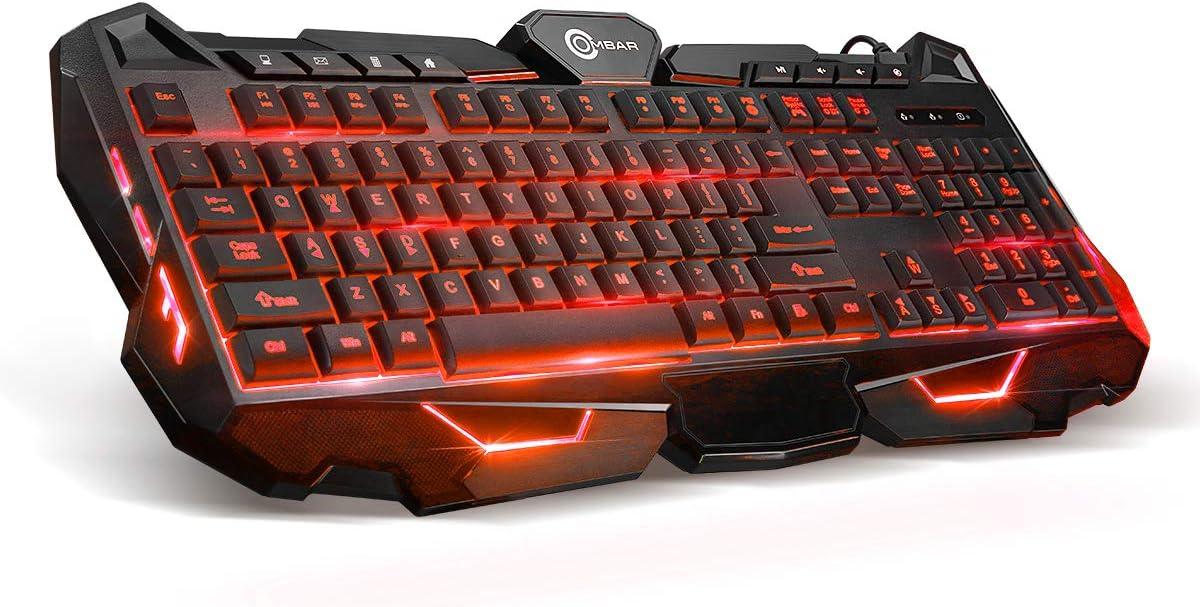OMBAR Gaming Keyboard Multimedia Gaming Keyboard LED Backlight 19 Anti-ghosting Keys 8 Hot Multimedia Keys Ergonomic Wrist Rest Perfect Partner for Office and Gaming.