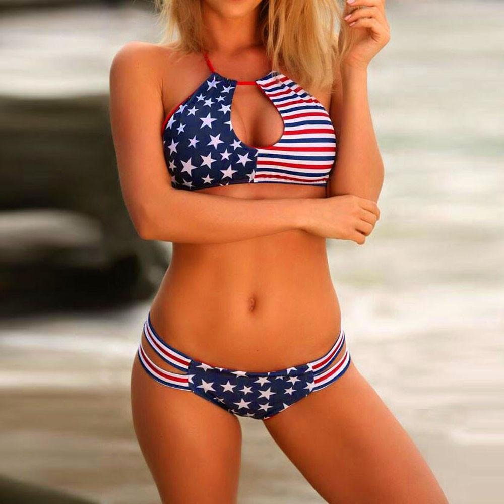 42db79364d Fat.chot Women Bikini Set American Flag Bandage Halter Neck Bra + Low Waist  Thong Swinwear Bathing Beachwear Sportswear Hawaii Independence Day  ...