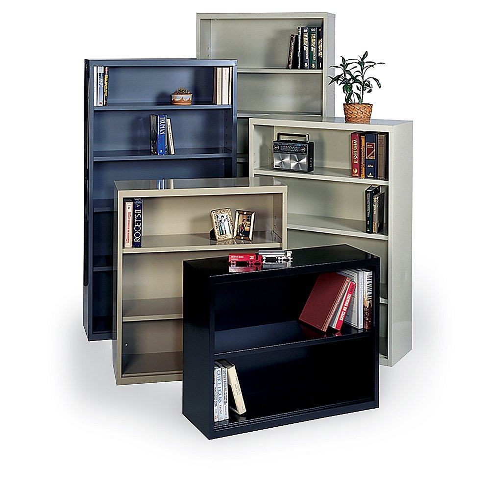 Edsal EBC42PU Welded Steel Bookcase, Pre-Assembled, 3 Shelves, 36'' W x 13'' D x 40'' H, Putty