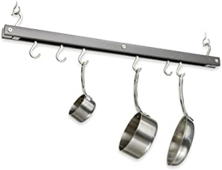 product image for J.K. Adams 36-Inch-by-12-Inch Hardwood Ceiling Mini Bar Pot Rack, Metallic Gray