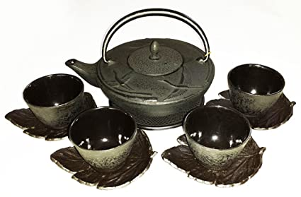 amazon com happy sales crane cast iron tea set with a trivet 4