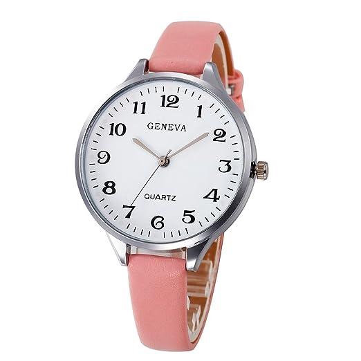 Relojes Analogicos Damas Casuales Damas De Cuero De Imitación De Cuarzo Analógico Reloj De Pulsera: Amazon.es: Relojes
