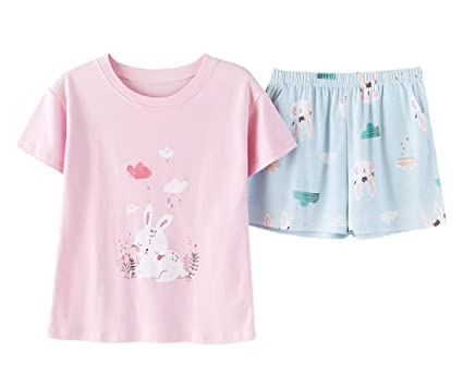 0ee0bc743556 Nawoshow Women s Cute Animal Print Shorts Pajama Set Soft Lougewear (Rabbit