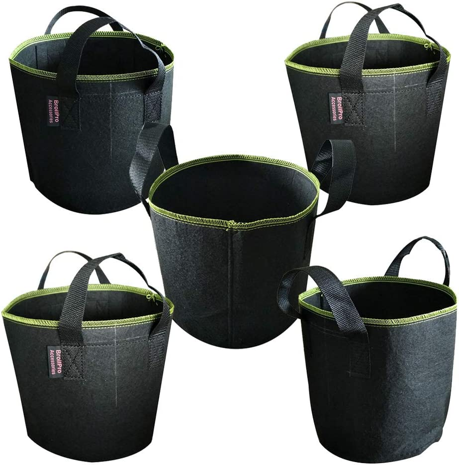 BroilPro Accessories 5-Pack 10 Gallon Plant Grow Bags - Smart Thickened Non-Woven Aeration Fabric Pots Container with Strap Handles