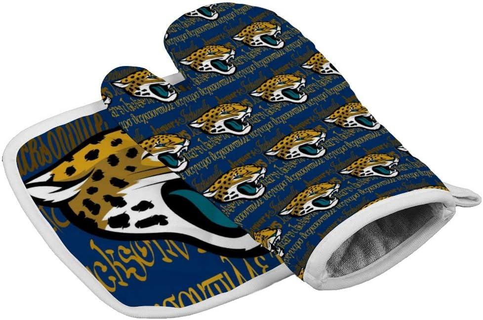 UCLIPERS Jacksonville Jaguars Oven Mitt and Pot Holder Non Slip Oven Gloves Heat Resistant Hot Plate
