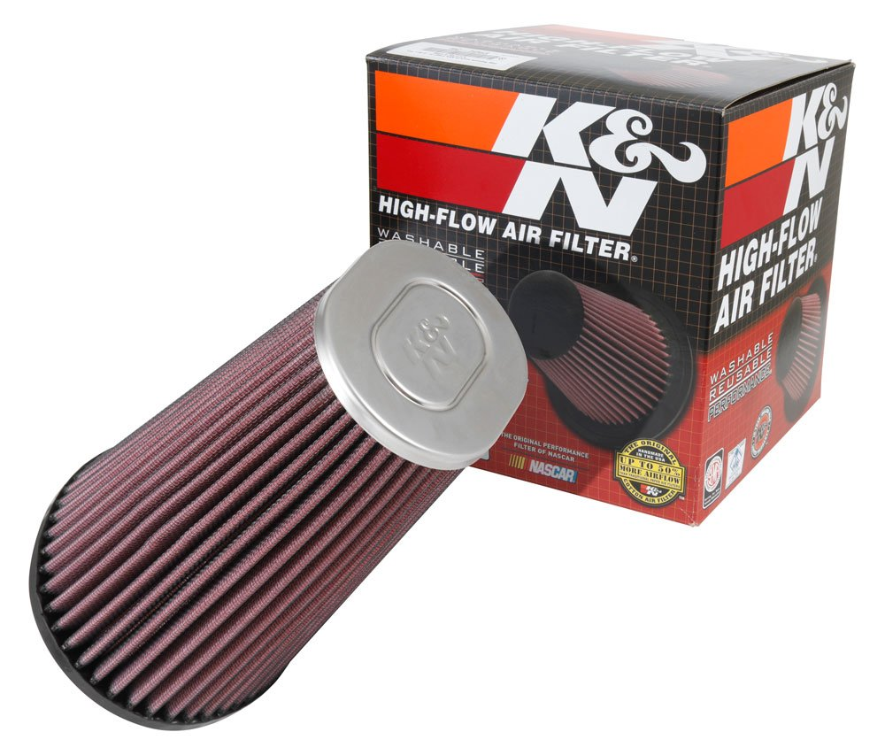 K&N RE-5286 Universal Clamp-On Air Filter: Round Straight; 3 in (76 mm) Flange ID; 5.219 in (133 mm) Height; 4.438 in (113 mm) Base; 3.5 in (89 mm) Top