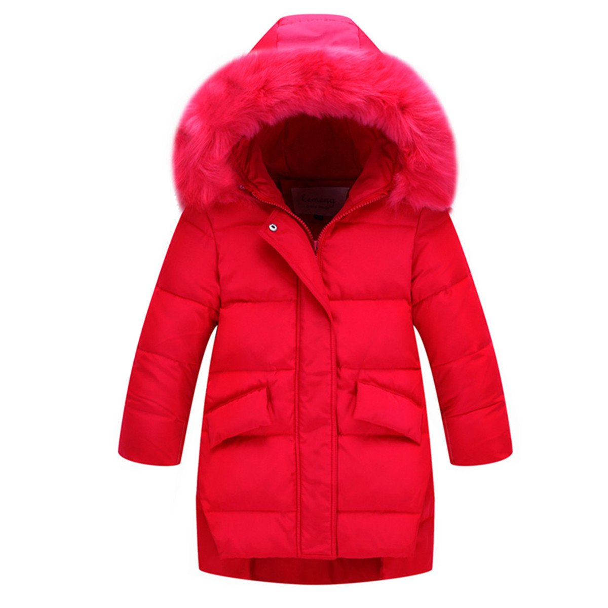 Ding Dong Kid Girl Winter Hooded Fur Down Parka Coat(Red,7-8T)