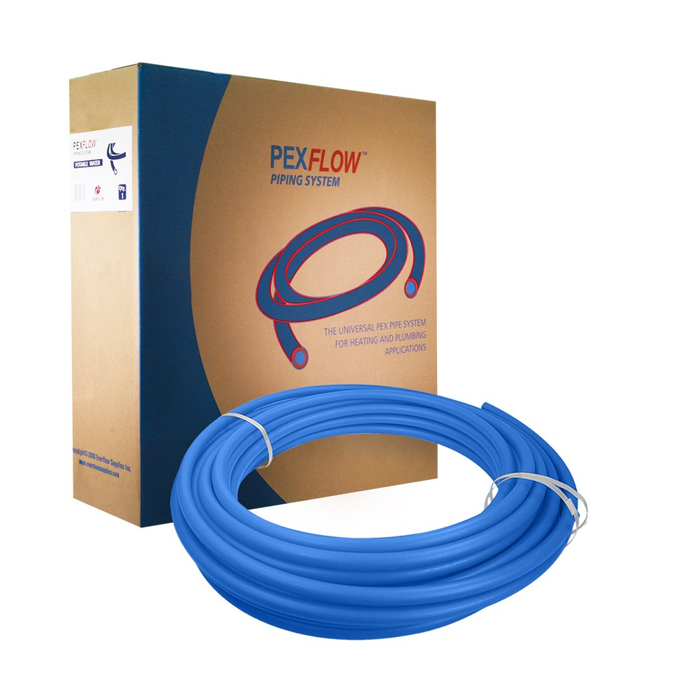 Pexflow PEX Potable Water Tubing - PFW-B34300 3/4 Inch X 300 Feet Tube Coil for Non-Barrier PEX-B Residential & Commercial Hot & Cold Water Plumbing Application (Blue) by PEXFLOW (Image #1)