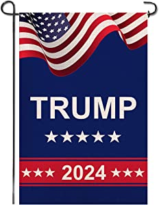 Shmbada Donald Trump 2024 American President Keep American Great Burlap Garden Flag, Double Sided Premium Fabric, US Election Patriotic Outdoor Decoration for Yard Lawn Porch Patio, 12 x 18 Inch