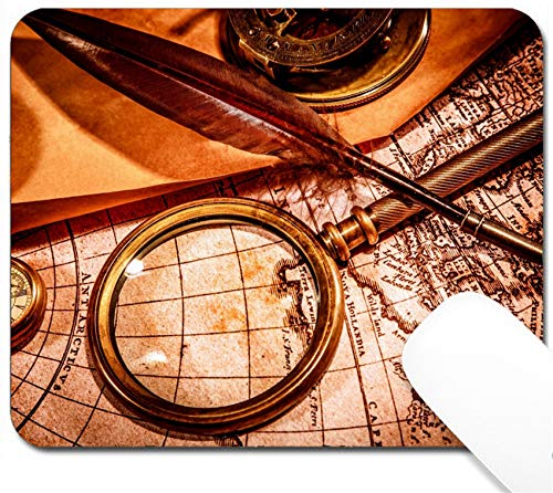MSD Mouse Pad with Design - Non-Slip Gaming Mouse Pad - Image 21076990 Vintage Magnifying Glass Compass Goose quill Pen Spyglass Pocket Watch l