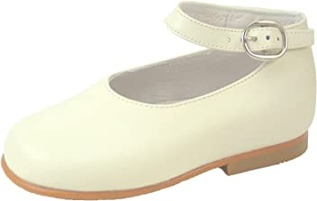 De Osu K-303 - Girls  Ivory Leather Dress Ankle Straps (Baby  f67d2968cfb