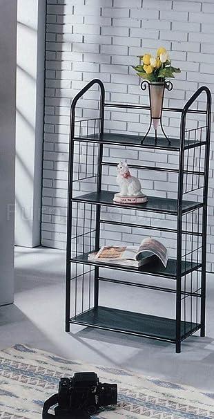 Black Metal Outdoor Patio Plant Stand 5 Tier Shelf Unit (4 TIER SHELVES)
