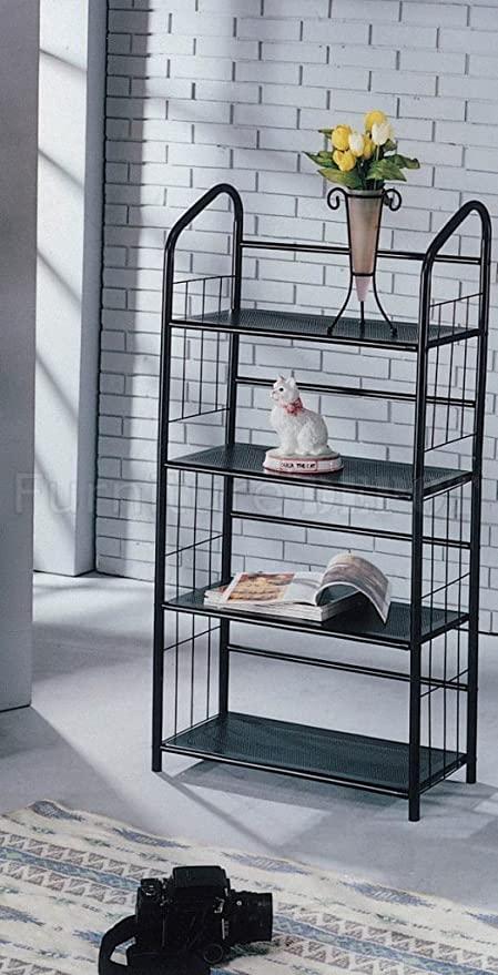 Black Metal Outdoor Patio Plant Stand 5 Tier Shelf Unit (4 TIER SHELVES)