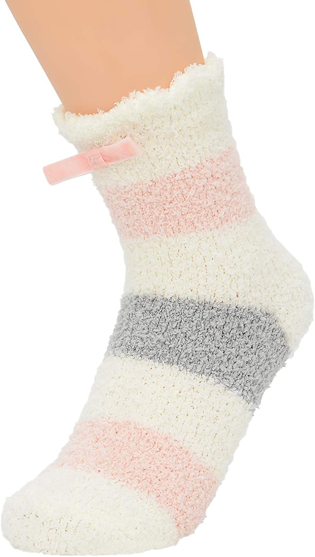 Womens Non-Slip Fuzzy Socks Winter Fluffy Slipper Socks with Grips Anti-Skid Cute Cozy Fleece Socks