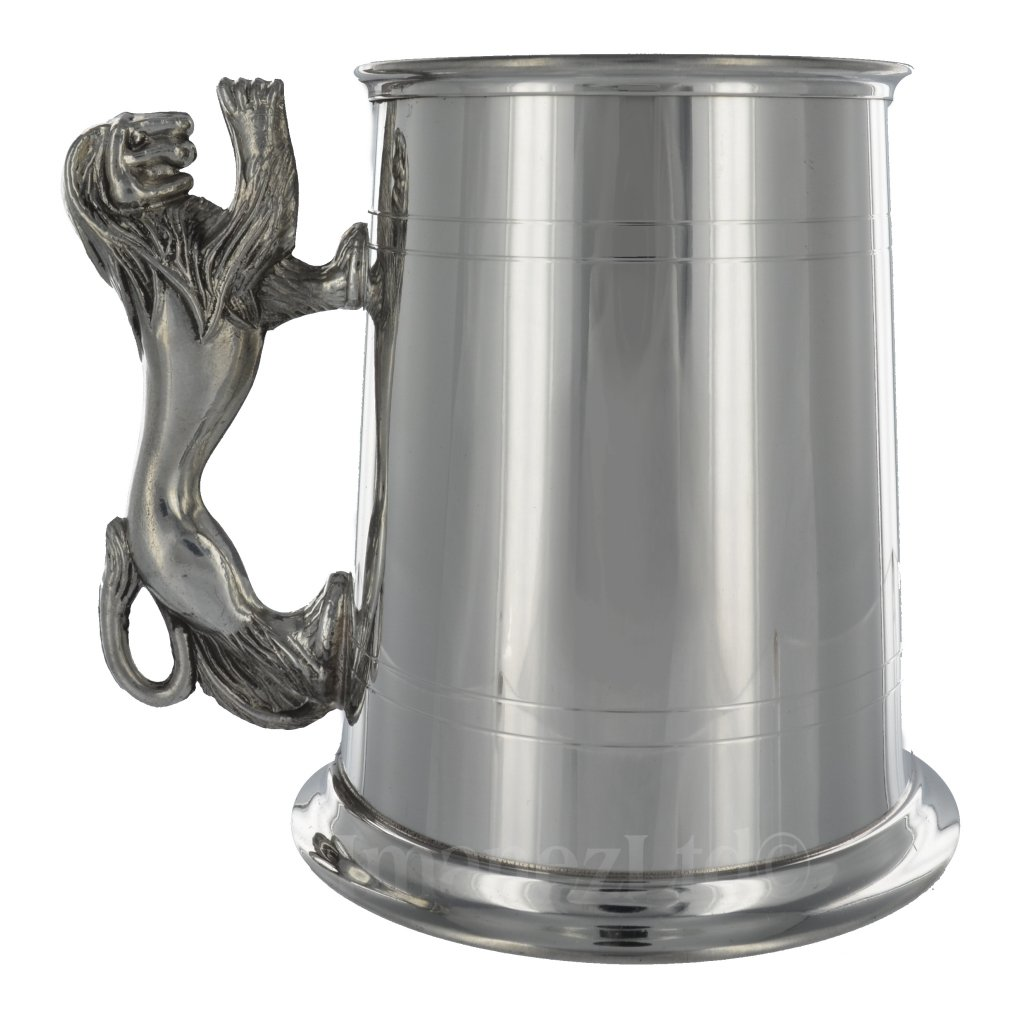 1StopShops Lion Handle English Pewter 1 Pint Tankard Wentworth