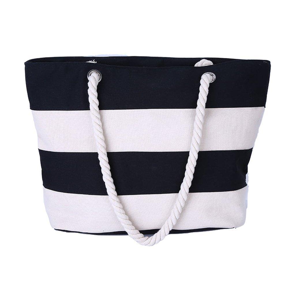 ZHRUI Damen Strand Handtasche Tote Bag Gestreifte Leinwand Umhängetasche Reisen Outdoors Frau Große Kapazität Taschen B07GNBLLF7 Schultertaschen Sonderpreis