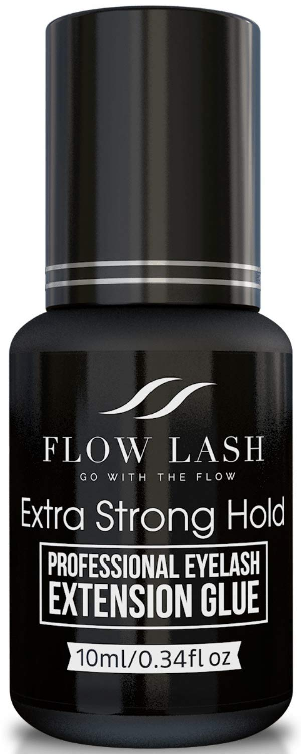 Eyelash Extension Glue 10ml Extra Strong Hold - Professional Grade Semi Permanent Individual Lash Black Adhesive - Fast Drying + Long Lasting Hold + Easy to Use