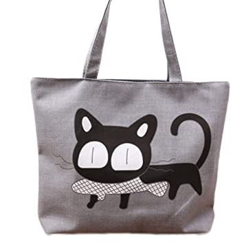 WA Leinwand flauschige Cartoon Motiv Umhängetasche wiederverwendbar  Strandkorb Tasche Handtasche grau, Gris-