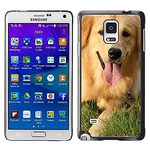 - Golden Retriever Dog - - Monedero pared Design Premium cuero del tir¨®n magn¨¦tico delgado del caso de la cubierta pata de ca FOR Samsung Galaxy Note 4 SM-N910 N910 Funny House