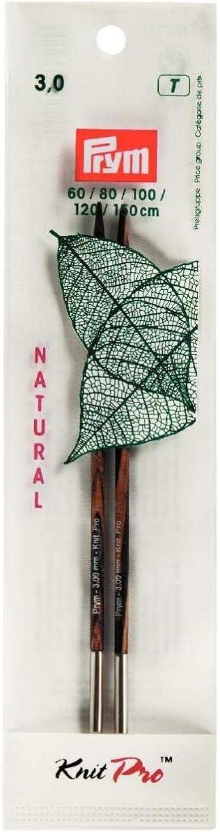 2 x 1 x 13 cm Prym 223322 Pointe//Aiguille//Tricoter Bois Natural 12,8cm 3mm Marron