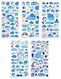 SET056-WHALE SHARK2 - 5 Different Sheets Lovely Whale Shark Cartoon Reusable Puffy Stickers Size 3.75 X 7.5 Inch./sheet