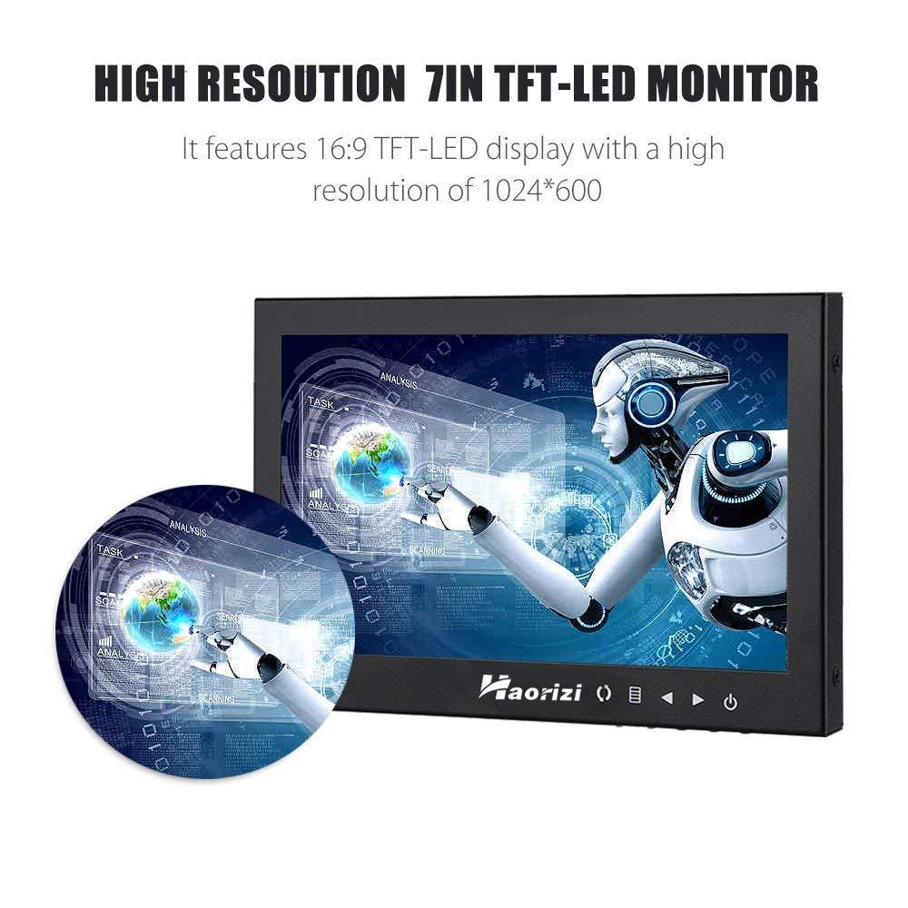 Haorizi 7 Inch HD LED Security CCTV Monitor 1024x600 High Resolution Mini Small Display Screen Metal Housing with HDMI/BNC/VGA/AV Input for PC DVD DVR Builtin Dual Speakers by Haorizi (Image #2)