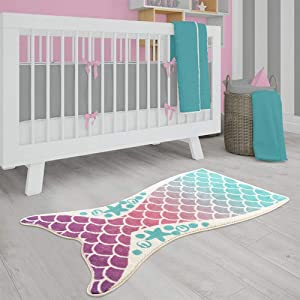 LIVEBOX Kids Play Rug, Mermaid Nursery Area Rug 20 x 35 Inch Personalized Bath Rug Velvet Non-Slip Childrens Carpet Throw Rug for Living Room Bathroom Playroom Decor Best Shower Gift
