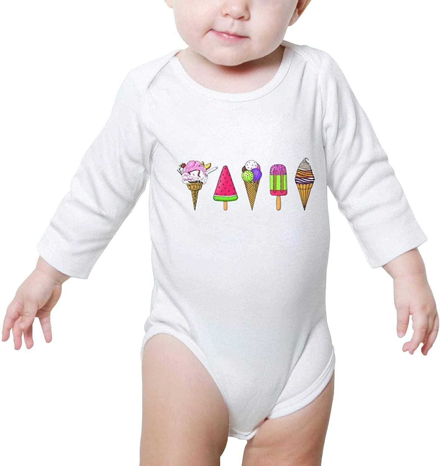 Happy National ice Cream Day 2018 Watermelon Long Sleeve Natural Organic Baby Onesie Bodysuits 0-3 Months for Kids Boys Girls