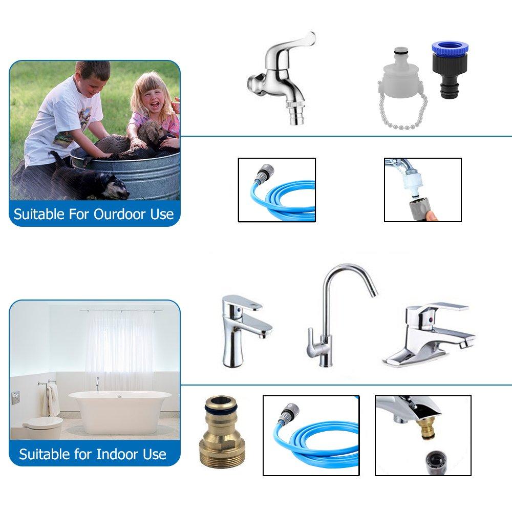 Pet Shower Sprayer Dog Bathing Tool - Shower Head & Brush in One 8.2 Ft Hose 2 Adapters, Dog Cat Horse Grooming & Massage, Dog Wash Bathtub Outdoor Use by Wonder (Image #7)
