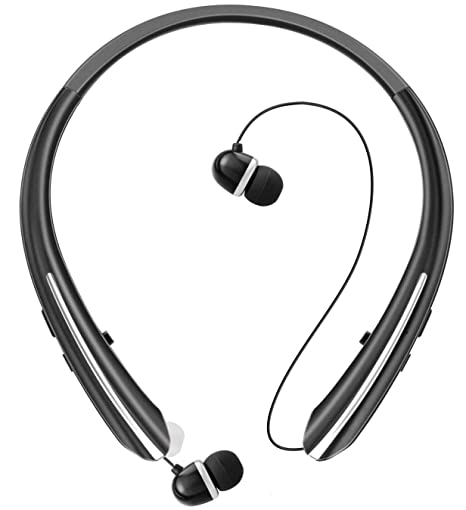 9d1e262f6f9 Bluetooth Retractable Headphones, Wireless Earbuds Neckband Headset Sports  Noise Cancelling Stereo Earphones with Mic (