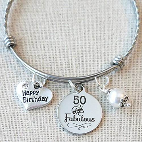 50th BIRTHDAY Gifts For Women 50 And Fabulous Gift Birthday Bangle Bracelet