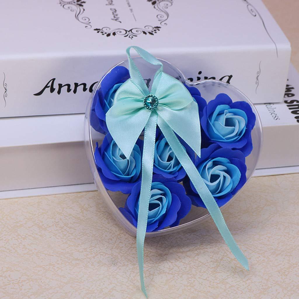 Fiore di Sapone Creativo Fatto a Mano Rosa Fiore Sapone Scatola a Forma di Cuore Regalo Romantico Sapone Decorazione di Matrimonio Festa Violet