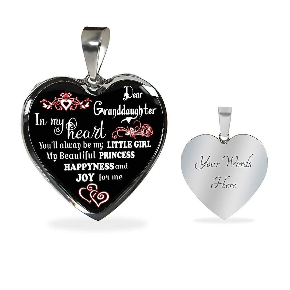 Meaningful Gift for Children//Teen Girls On Birthday Xmas. You Will Always Be My Litter Girl AZ Gifts Handmade Gift from Grandpa Grandma to My Granddaughter Heart/ Necklace Custom Engraved