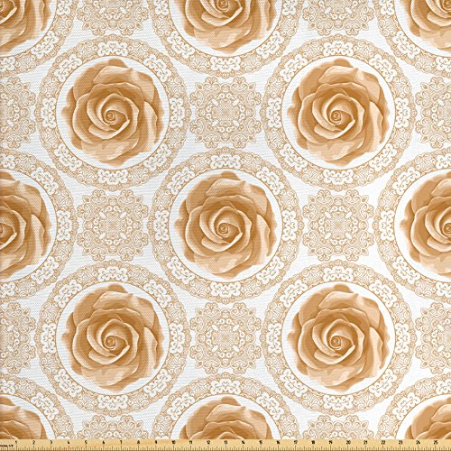Lunarable Roses Fabric by The Yard, Vintage Inspired Pattern with Swirls and Curves Lace Design Flourishing Rose, Decorative Fabric for Upholstery and Home Accents, Pale Caramel White