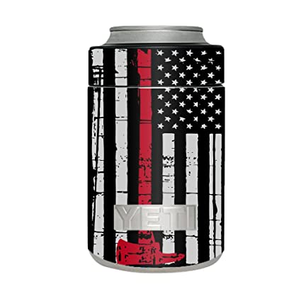 7c683cc0ca7 Skin Decal Vinyl Wrap for Yeti Colster Can Stickers Skins Cover / Thin Red  Line Subdued