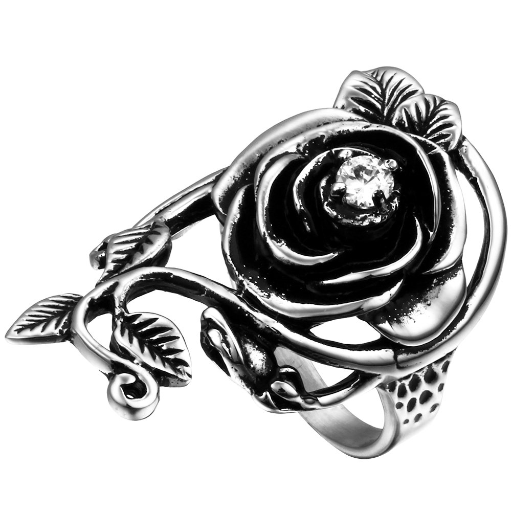 Flongo Womens Ladies Gothic Stainless Steel Rose Flower Vine Band Ring